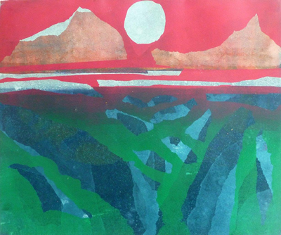 Blue Moon I Monotype by Jenny Pery