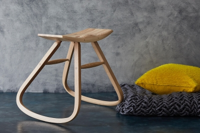 Unstable Stool by Angus Ross Furniture cushion by Anna Gravelle throw by Melanie Porter & photo courtesy Design-Nation