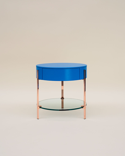 Ghyczy T79 Copper Blue Side Table With Drawer