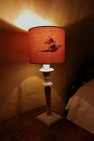 Hand painted bedside lamp shade by Els Marleyn