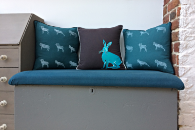 Hand painted Hare & Ram cushions by Els Marleyn