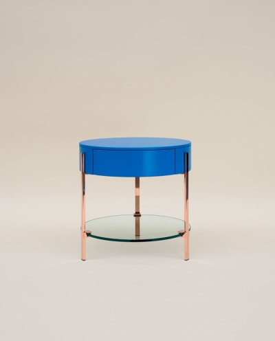 Ghyczy T79 Copper Blue Side Table With Drawer - SOLD