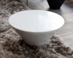 Ligne Roset white marble Conico End Table