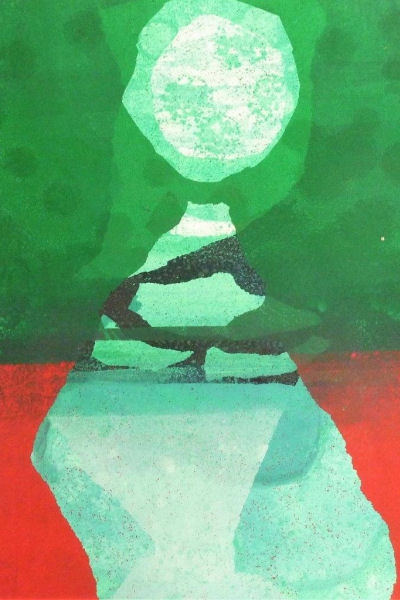 Blue Moon III Monotype by Jenny Pery