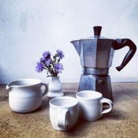 Porcelain Coffee Cups & Jug